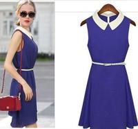 FREE BELT New 2014 Summer Women Fashion European women's Chiffon dress, sleeveless vest dress , lapel collar bright color