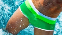 2014 new arrival men's swimwear lycra swimsuits sexy swimming trunk color stripes wave green