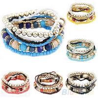 1 Set =7Pcs Fashion New Womens Boho Wholesale  Multilayer Acrylic Beads Beach Bracelet Bracelets 03N4