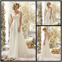 Fashionable Romantic Empire Waist Lace & Chiffon 2014 Wedding Dress Sexy Backless Flower Lace Straps Bridal Gown Custom Size