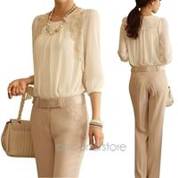2014 women office lady Fashion Elegant white Lace Embroidered long sleeve chiffon blouse Tops shirt S/M/L/XL 2X E1422#M2
