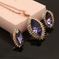 Zircon Auden Rhinestone Necklaces & Earrings Purple Jewelry Set For Women Wedding Statement Charm Brand Sale Gift Brazil 2014