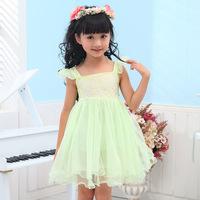 2014 summer new girls dress,strapless lovely flower girl dress,children princess party dress,pink green color,baby girl clothes