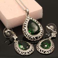 Green Crystal Czech Rhinestone Jewelery Set Women Necklace & Earrings 2014 New Hot Selling