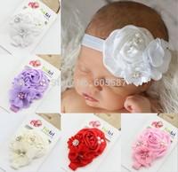 10 pieces / lot 2014 New Fashion Rose Flower Pearl Alloy Rhinestone Baby Headband & Flower Headband