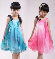 Girl's Fashion Princess Dresses Lovely Summer Chiffon Dresses flower girl dress 2014 hot pink blue color 2~10y