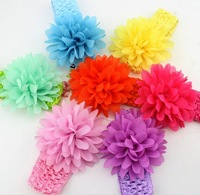 10 pieces / lot 2014 New Fashion Chiffon Flower 100% Handmade Crochet Elastic Band Baby Headband & Flower Headband
