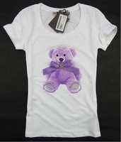 2014 New lovely cartoon little bear pattern hot drilling short sleeve cotton t shirt women S, M, L, XL Wholesale price