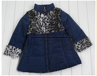 Kids Winter Girls Jacket Korean Style Cotton Leopard Fashion Coat With Belt Children Clothes For Toddle Wear Hot Sale