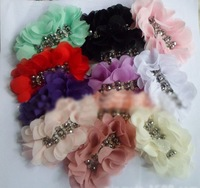 Free shipping Rhinestone Center Handmade Chiffon Flowers for shoes Clothing children's hair accessories