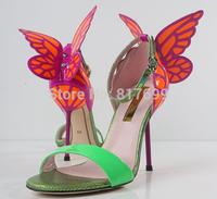 2014 New Design Women Beautiful Butterfly Heel Design High Heel Sandals Free Shipping