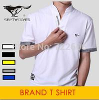 brand t shirt menplus size men stand collar  cotton slim fit  t shirt male shirt camisa men's casual shirt la free shipping