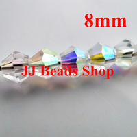 200pcs/Lot Chines  5301 bicone bead in strand 8mm  Crystal Half-AB (Aurore Boreale) colour crystal bicone beads B180451