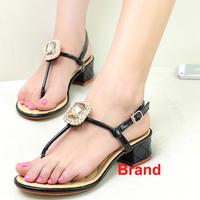 Famous Brand Rhinestone Hot Sale Square Crystal Black White Pink Women Sandal Flip Flops Women Size 8 39 Summer Shoe Footwear