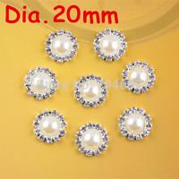 20mm round metal rhinestone pearl button flat back wedding embellishment hair bow alloy button DIY hair accessory 100pcs PJ05
