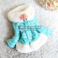 2015 Fashion Children Winter Coat 3D Flower Fur Collar Girls Jacket Kids Clothes For Toddle Hot Sale