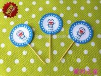 Free shipping 120 Pcs/Lot The Doraemon birthday cake Insert Card  cartoon cupcake inserted card