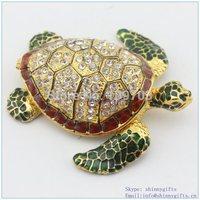 handmade enamel Turtle shape jewelry box velvet wholesales free shipping