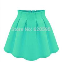 7 Colors New 2015 Women Summer Skirt High Waist Ruffled Pleated Flare Mini Skater Skirts Saia For Female Girl Plus Size 99801