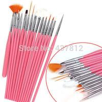 Free Shipping Professional 15pcs Acrylic UV Gel Polish Nail art  Drawing Dotting Pen Painting Brush set  Design Nail Brushes
