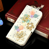 Luxury Cute Flip Stand Litchi Leather BlingBling Diamond Bowknot Flower Wallet Case For apple iphone 4 4S Handmade Phone Cover