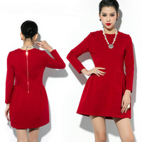 Free shipping new 2014 women spring winter dress casual vintage dress party evening elegant vestido red S M L