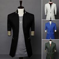 2014 Sale Freeshipping Regular Single Breasted Linen Summer New Arrival Sleeve Blazer Color Block Brief Fashion Men 9086 - 65