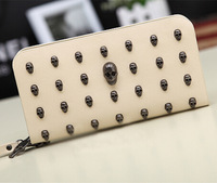 Brand Retro Punk Rivet Skull Zipper Wallet Card Wristlet Handbags Long Clutch Purse Bag Cell Phone Case For iphone 4 5S S3 S4 S5
