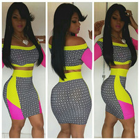 2014 Hot New Style 2 Piece Bandage Bodycon Dress Brand New Celebrity Off the Shoulder Dress Women Club Party Dresses