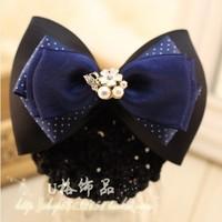 Navy blue Hair accessory Pearl Ribbon Bow Net Bag Hair Clips Hair Flower Butterfly Hair Grip Satin Flower