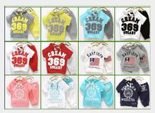 2015 summer girls boys cream 369 children clothing set baby clothes short-sleeve T-shirt hoodies pant kids sport suit Free Ship.(China (Mainland))