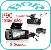 Allwinner CPU F90 Dual Lens Car DVR w/G-Sensor Full HD 1920x1080p 20FPS 2.7' LCD/HDMI/External IR Rear Camera