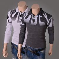 Free shipping men Casual Broadcloth Cotton Turn-down Collar Slim Long-sleeve Shirt