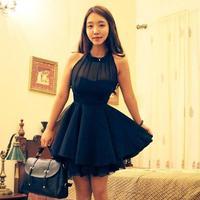 Hot Wholesale 2014 spring and summer new large swing irregular mesh stitching Slim sleeveless chiffon dress sexy halter dress