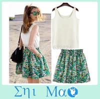 20% OFF S-XL 2014 New Hot Sale Mini Dress Women Dress for Summer wear Sweet Casual Sleeveness Batwing Floral Chiffon