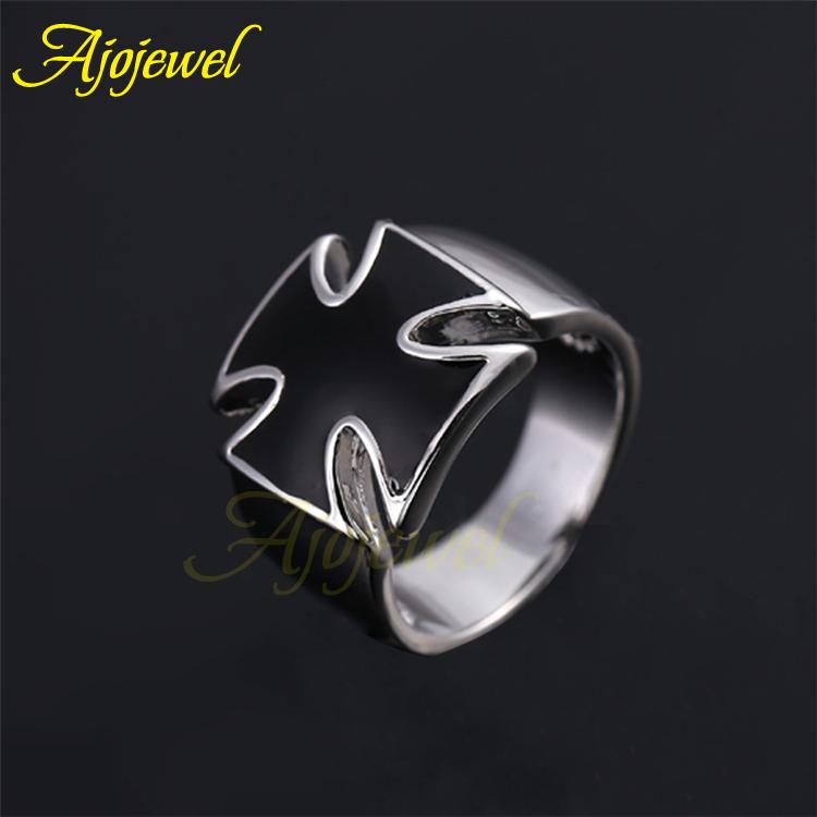 Ajojewel brand classic man jewelry fashion simple cool silver enamal black cross men ring without stone(China (Mainland))