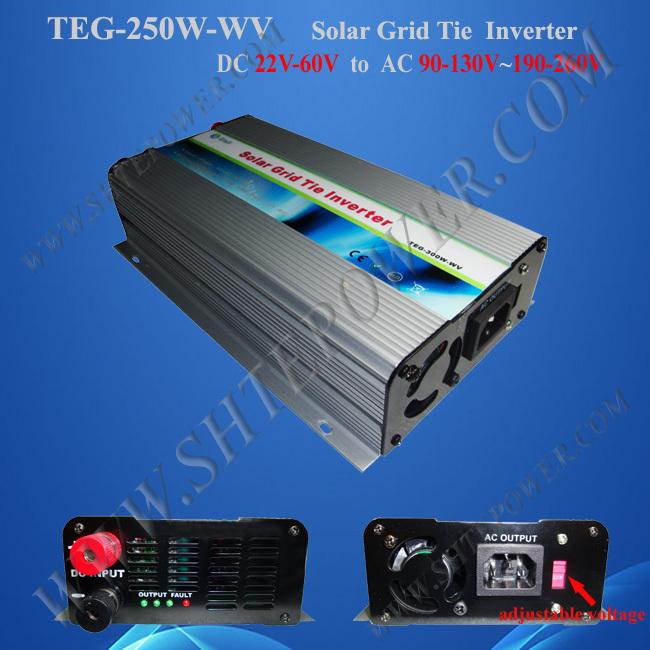 Micro Solar Grid Tie DC to AC Power Inverter 22V-60V Input 115V/230V Adjustable 250W(China (Mainland))