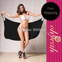 Free Shipping New Design Full Black Beach Dress Swimwear Bikini Cover Up For Women B0791