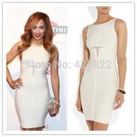 2014 new arrival WHITE KEYHOLE celebrity dress bandage dresses party dress evening dress HL