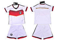 2014 Germany World cup Kids jerseys home kids soccer uniforms shirt with short football training clothing set 1pcs Size 16-28