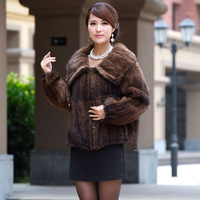 Big Promotion! Top Quality! Genuine Knitted Mink Fur Coats Jackets  with Large Turn-down Collar Short Slim Customize Plus Size