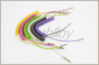 AUX Spring audio line 3.5 mm male to male record audio stereo line shipping free 2pcs/lot