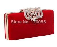 Women clutch rhinestone crystal velour evening bag diamond wedding party shoulder chain small purse bag free shipping