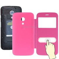 Denim Texture Flip Leather Case Replacement Back Cover with Call Display ID for Motorola Moto G / X1032