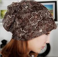 2014 Korean Version popular Folding Lace Cap flower turban headband Women hair accessories for Summer beanie Headwear Xll355