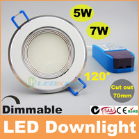 2014 High quality 5W 7W dimmable led downlight cut out 70-75mm ceiling lights CE RoHS SAA C-TICK TUV free shipping 20pcs+