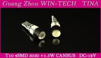 Free shipping  2pcs/lot canbus T10 4SMD 5050 + 1.5W Car LED Light auto light bulbs 12V led bulbs
