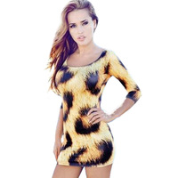2015 new women suumer dress Leopard Sexy Sheath Dress RU Dress Plus Size Women's Clothes Yellow Dress 3D S,M,L,XL,2XL,3XL,4XL