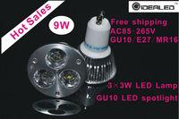 New design 9W LED lamp led Spotlight 10pcs/lot AC110-250V hot sales LED bulb free shipping Dimmable LED Light la lampara del pro