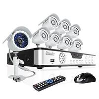 Zmodo 8 CH Key DVR Outdoor Day Night CCTV Home Security Surveillance 600TVL Camera System